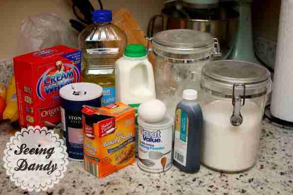 Ingredients for Homemade pancakes recipe.