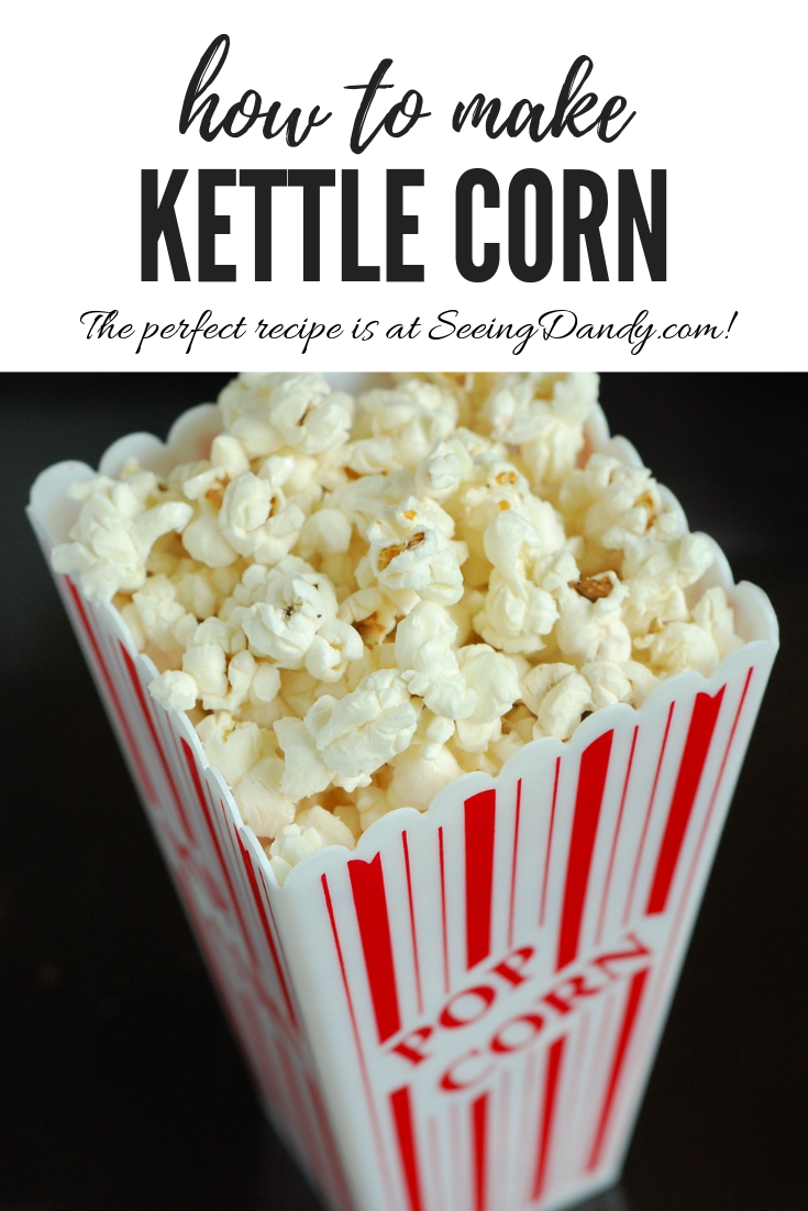 Easy to make kettle corn popcorn recipe.