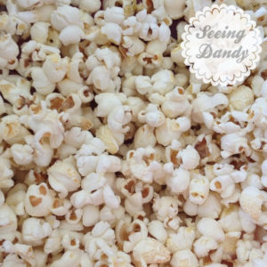 Close up of kettle corn popcorn.