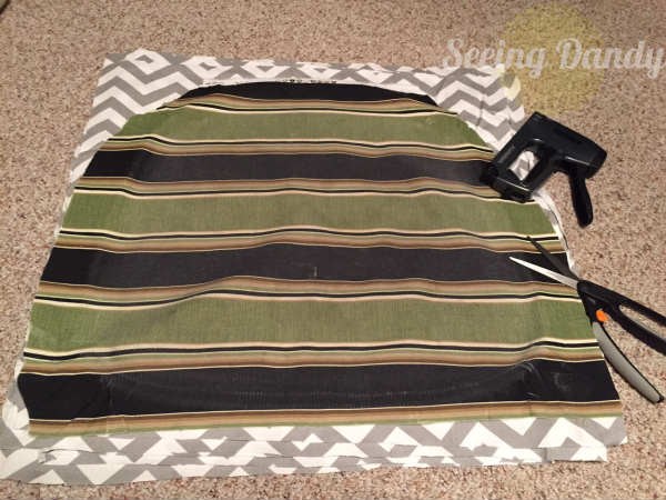 IMG_1228, how to reupholster a chair, reupholset, DIY reupholster, home project, redo dining room set, chevron fabric, chair reupholster, grey and white kitchen, gray and white fabric, easy staple gun, quick project, budget friendly project
