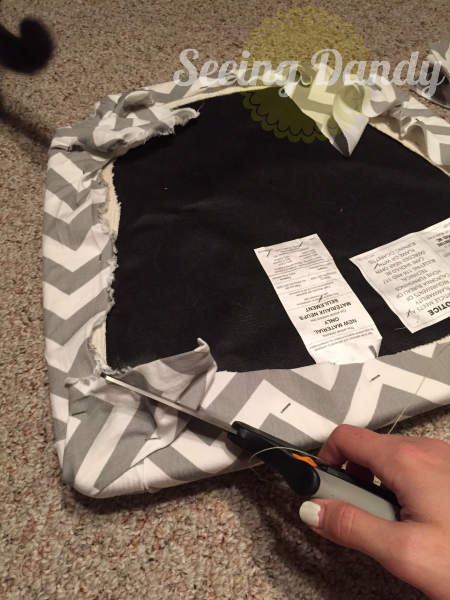 IMG_1231, how to reupholster a chair, reupholset, DIY reupholster, home project, redo dining room set, chevron fabric, chair reupholster, grey and white kitchen, gray and white fabric, easy staple gun, quick project, budget friendly project