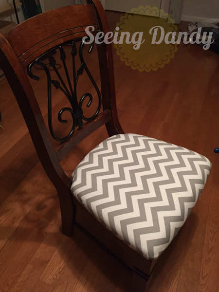 IMG_1235, how to reupholster a chair, reupholset, DIY reupholster, home project, redo dining room set, chevron fabric, chair reupholster, grey and white kitchen, gray and white fabric, easy staple gun, quick project, budget friendly project