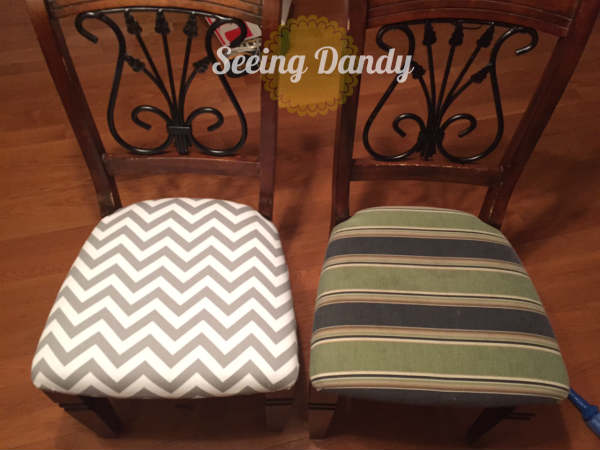 IMG_1236, how to reupholster a chair, reupholset, DIY reupholster, home project, redo dining room set, chevron fabric, chair reupholster, grey and white kitchen, gray and white fabric, easy staple gun, quick project, budget friendly project