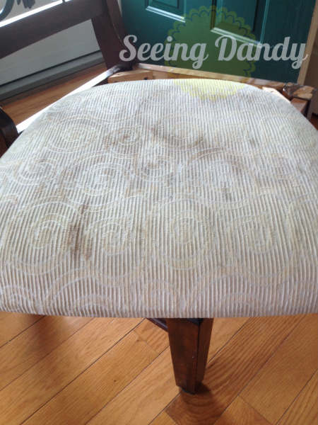 IMG_4141, how to reupholster a chair, reupholset, DIY reupholster, home project, redo dining room set, chevron fabric, chair reupholster, grey and white kitchen, gray and white fabric, easy staple gun, quick project, budget friendly project
