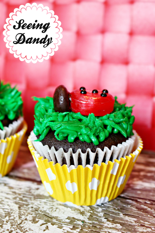 Decorating ladybug birthday party cupcakes for a ladybug themed birthday party.