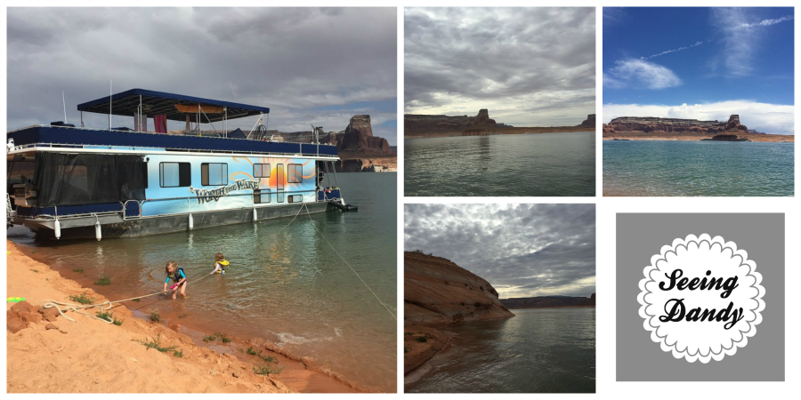 Lake Powell red rock, views, sand beach and houseboat.
