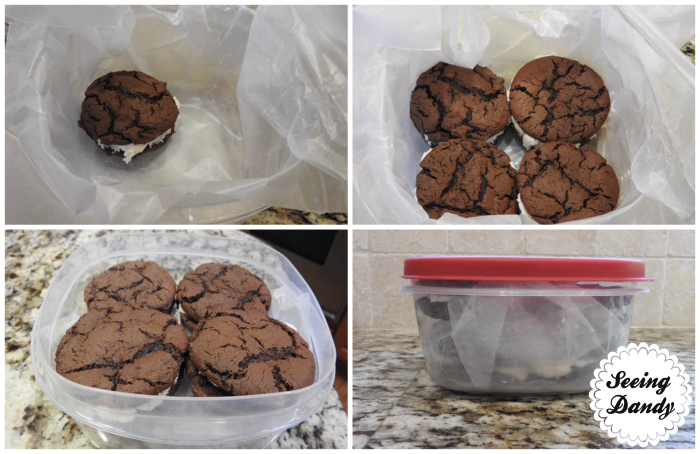 Freezing homemade Oreos in Rubbermaid containers.