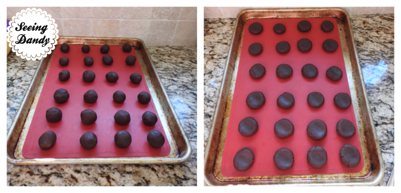 Making homemade Oreos on red silicone baking mat.