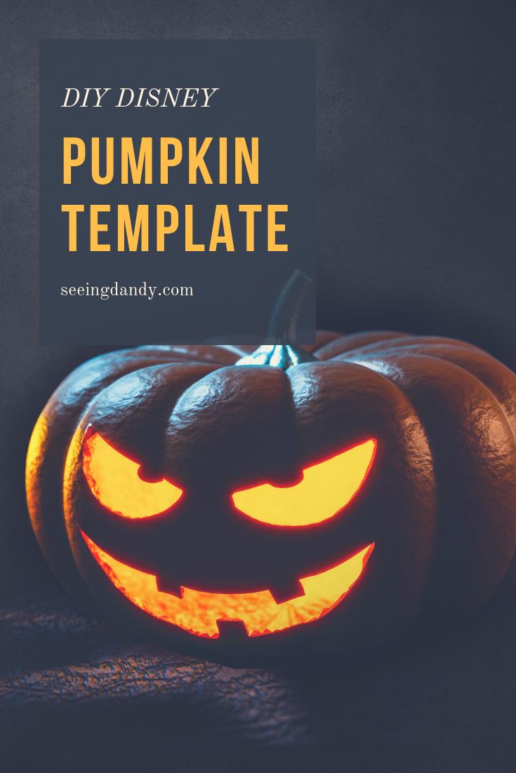 DIY Disney pumpkin template. Dark Halloween night. Easy to create.