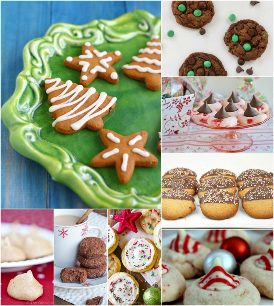 Easy to make holiday cookie recipes. Christmas cookies served on festive plates.
