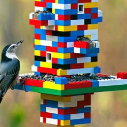 DIY bird feeders made out of LEGO bricks.
