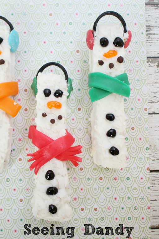 Candy covered white chocolate snowmen.