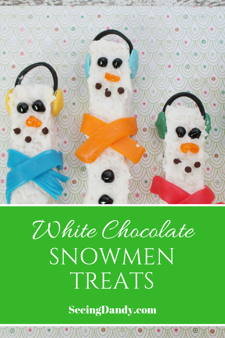 Easy recipe for making white chocolate snowmen rice krispies treats.