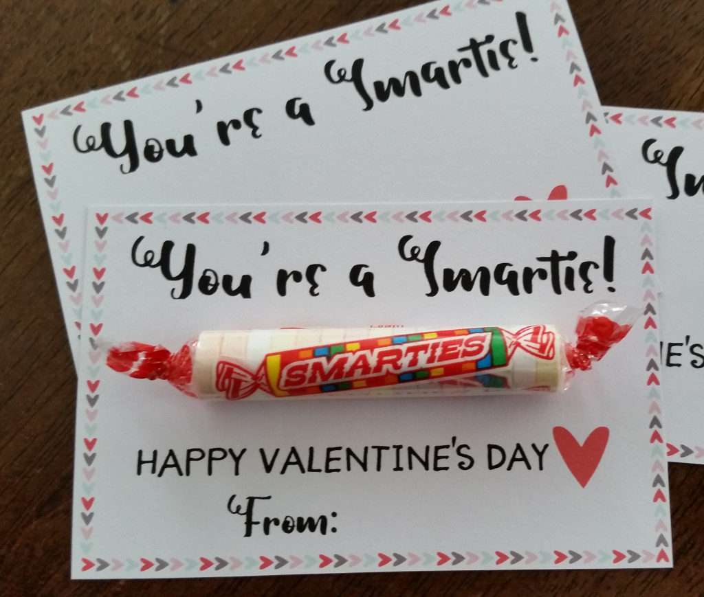 Smarties candy last minute Valentines.