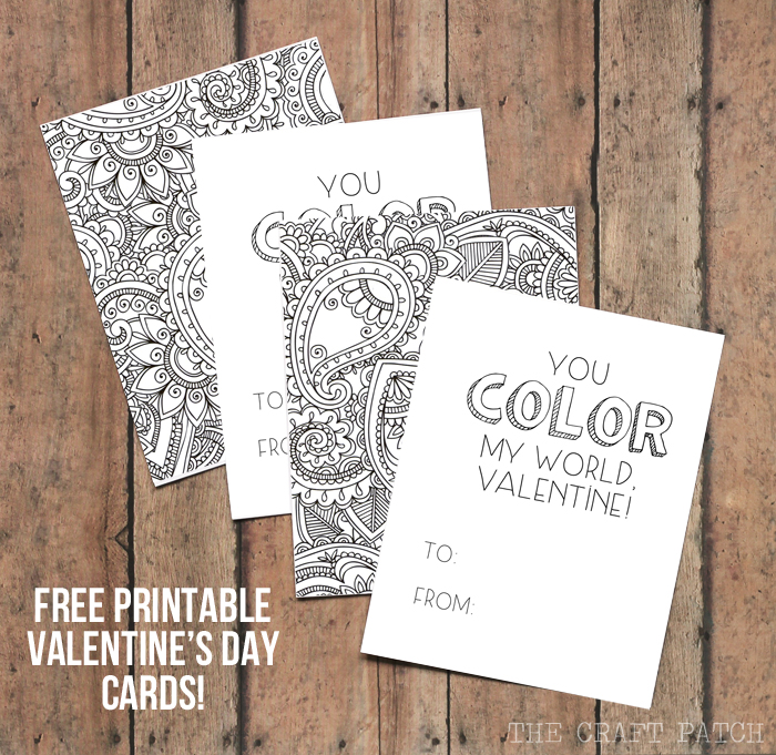 Printable cards adult coloring last minute Valentines.