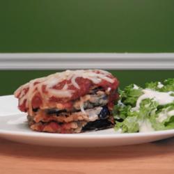 Delicious gluten free eggplant parmigiana.