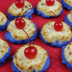 Delicious coconut macaroon cherry bombs.