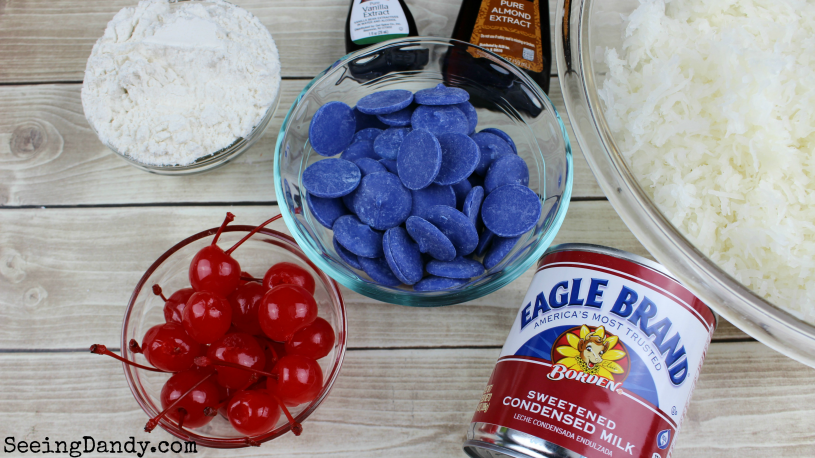 Blue melting chips, cherries, sweetened condensed milk almond extract, vanilla and shredded coconut.