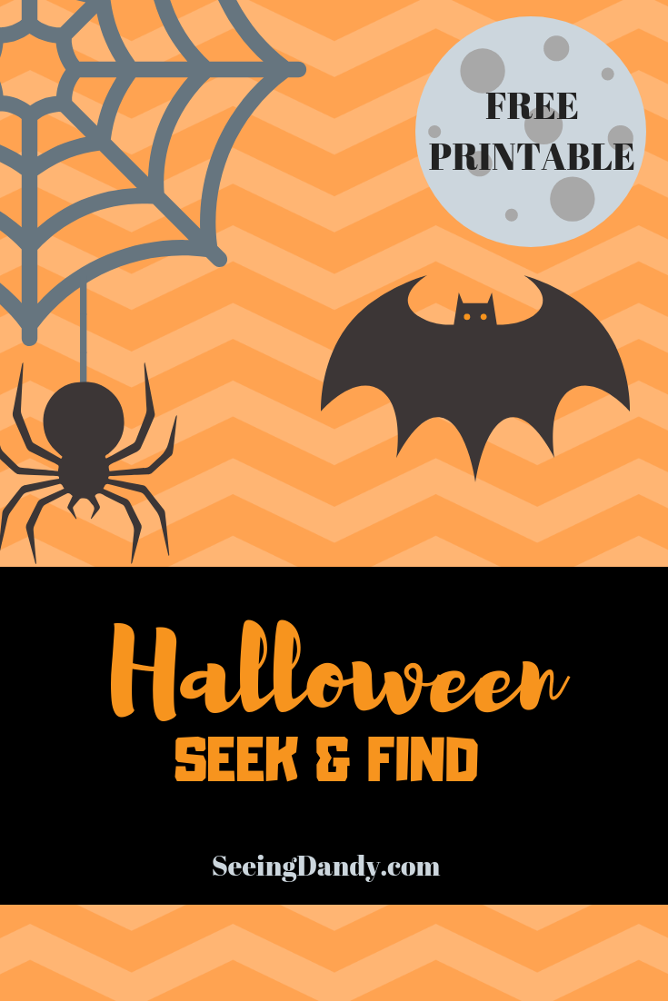 Halloween seek and find with bats and spiders.