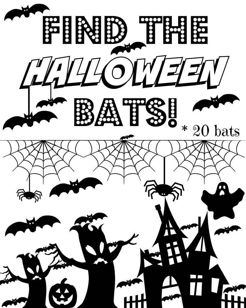 Free printable Halloween seek and find for school Halloween party.