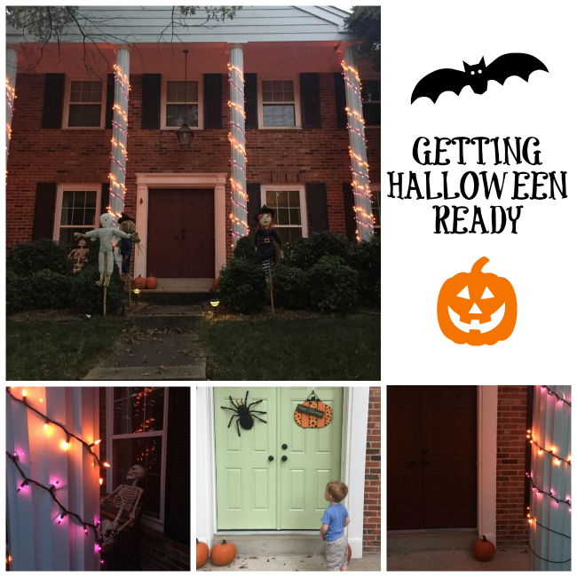 Halloween decorations and Halloween seek and find activity sheet.