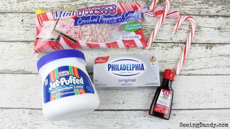 Candy cane dip ingredients, crushed peppermint, Philadelphia cream cheese, Kraft jet puffed marshmallow creme, peppermint extract.