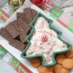 Gluten free candy cane dip in Christmas tree bowl.
