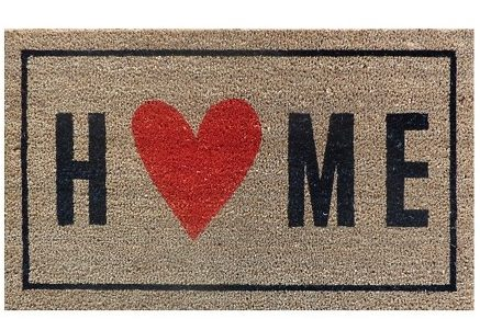 Farmhouse style porch rug with home words heart.