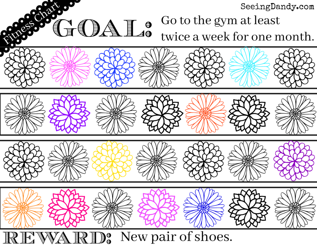 Track workouts and exercise with this fitness reward chart coloring page.