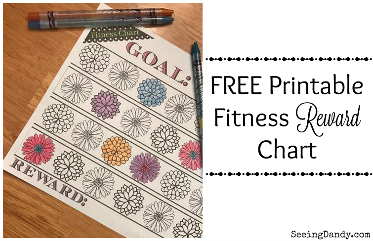 Easy to track fitness reward charge with colorful flowers.