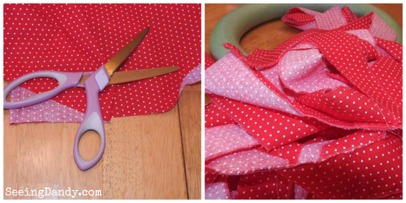 Cutting the strips of fabric to make Valentine rag wreaths.