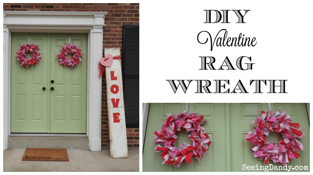 DIY Valentine decorations. Easy to make Valentine rag wreaths perfect for double front doors.