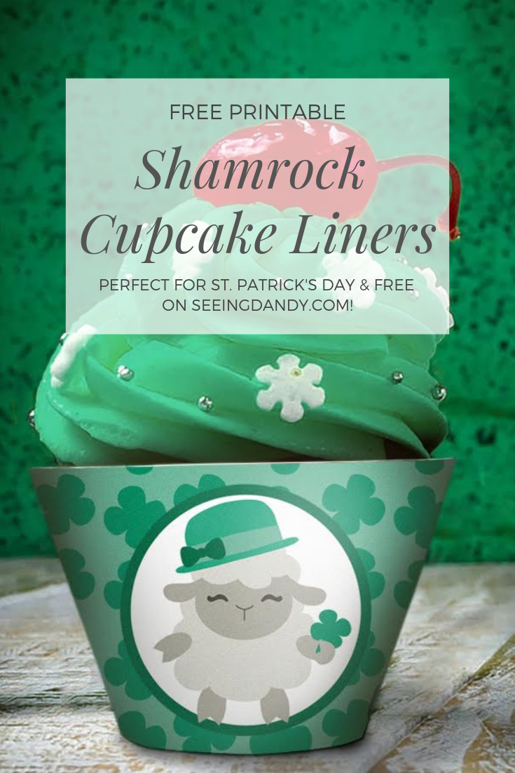 Free printable shamrock cupcake liners for St. Patrick's Day.