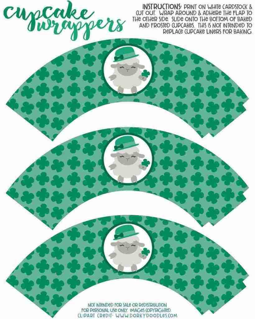 Easy to make printable shamrock cupcake liners.