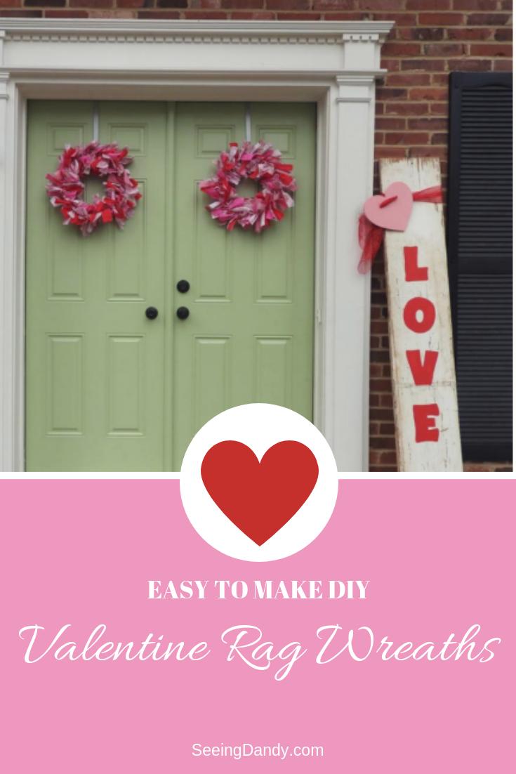 Easy to make Valentine rag wreaths. Mint green front door.