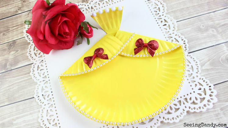 Beautiful DIY Belle dress with red roses.