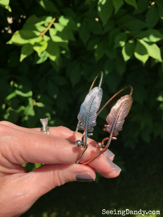 Unique teacher gift idea silver and rose gold feather bracelets.