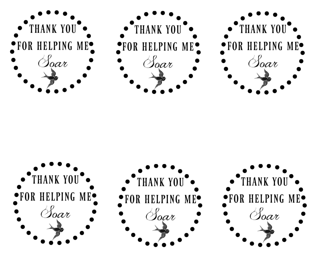 Thank you for helping me to soar printable gift tag.