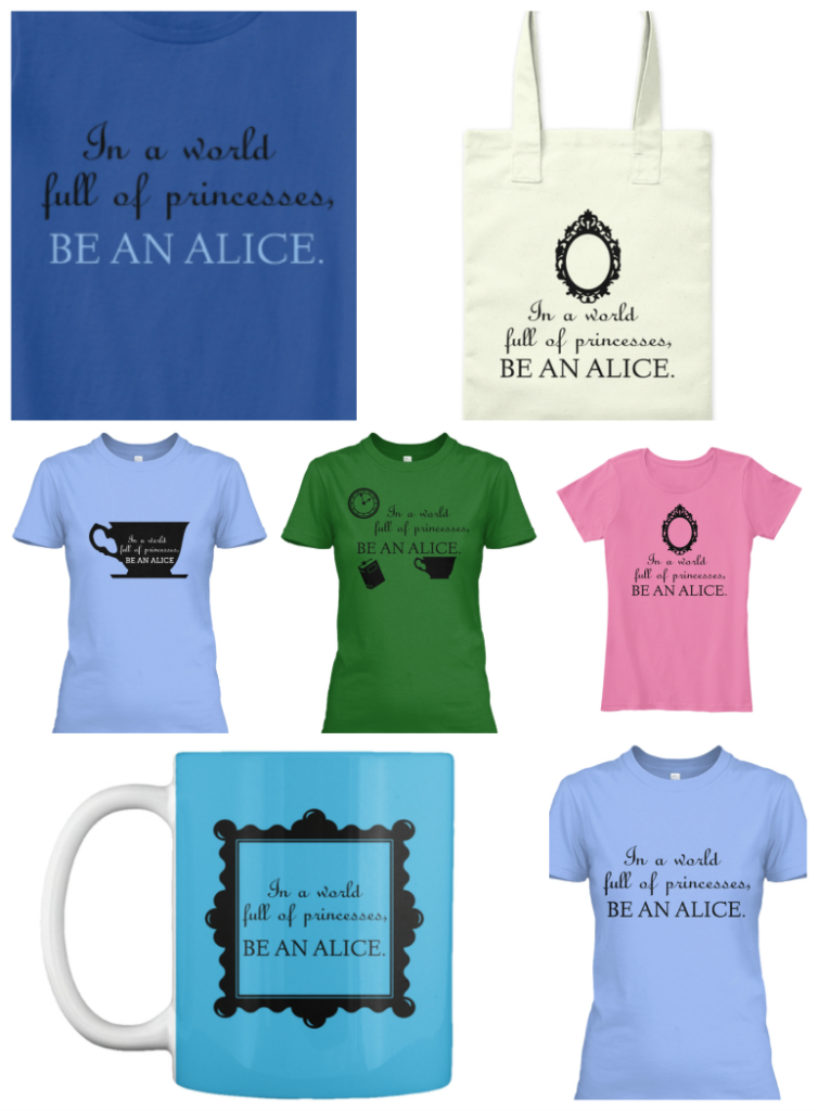 Alice In Wonderland printables on shirts, tote bags, mugs, etc.