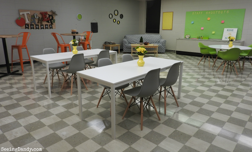 Finished teacher's lounge makeover for teacher appreciation.
