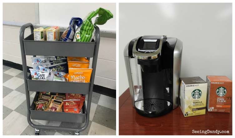 Teacher snack cart and Keurig coffee station.