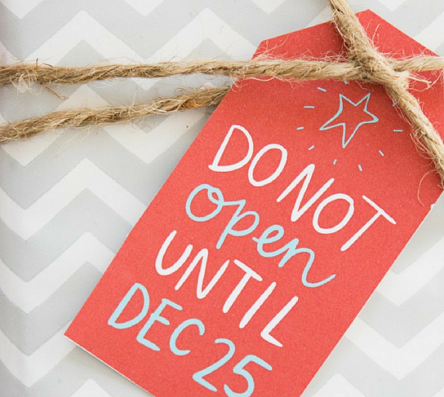Do not open until December 25th gift tag ideas with chevron paper and twine.