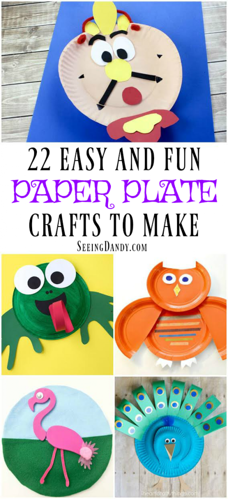 Easy to make paper plate crafts. Orange owl, Cogsworth, frog, Beauty and the Beast and more!