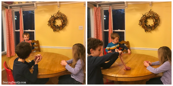 Kids having fun together playing with slime. Simple Valentine's Day cards.