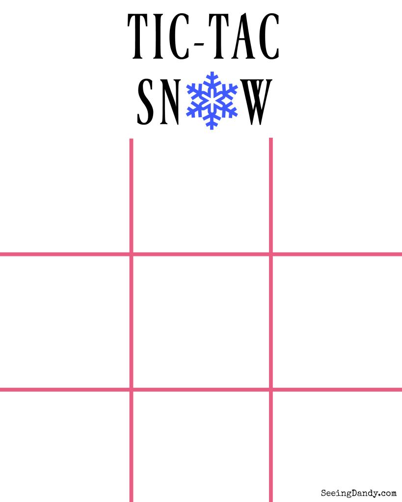 Tic Tac Snow Bags free printable.