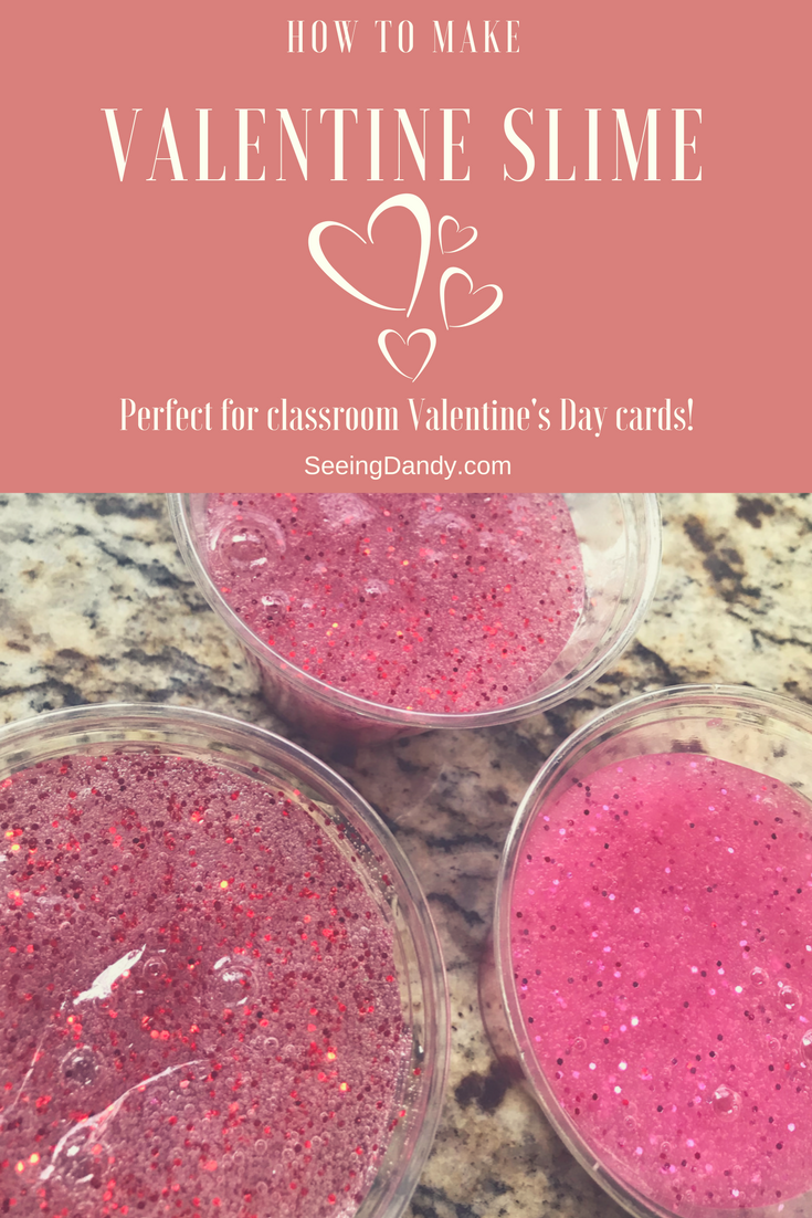 Easy to make Valentine slime recipe to use for Valentine's Day cards.