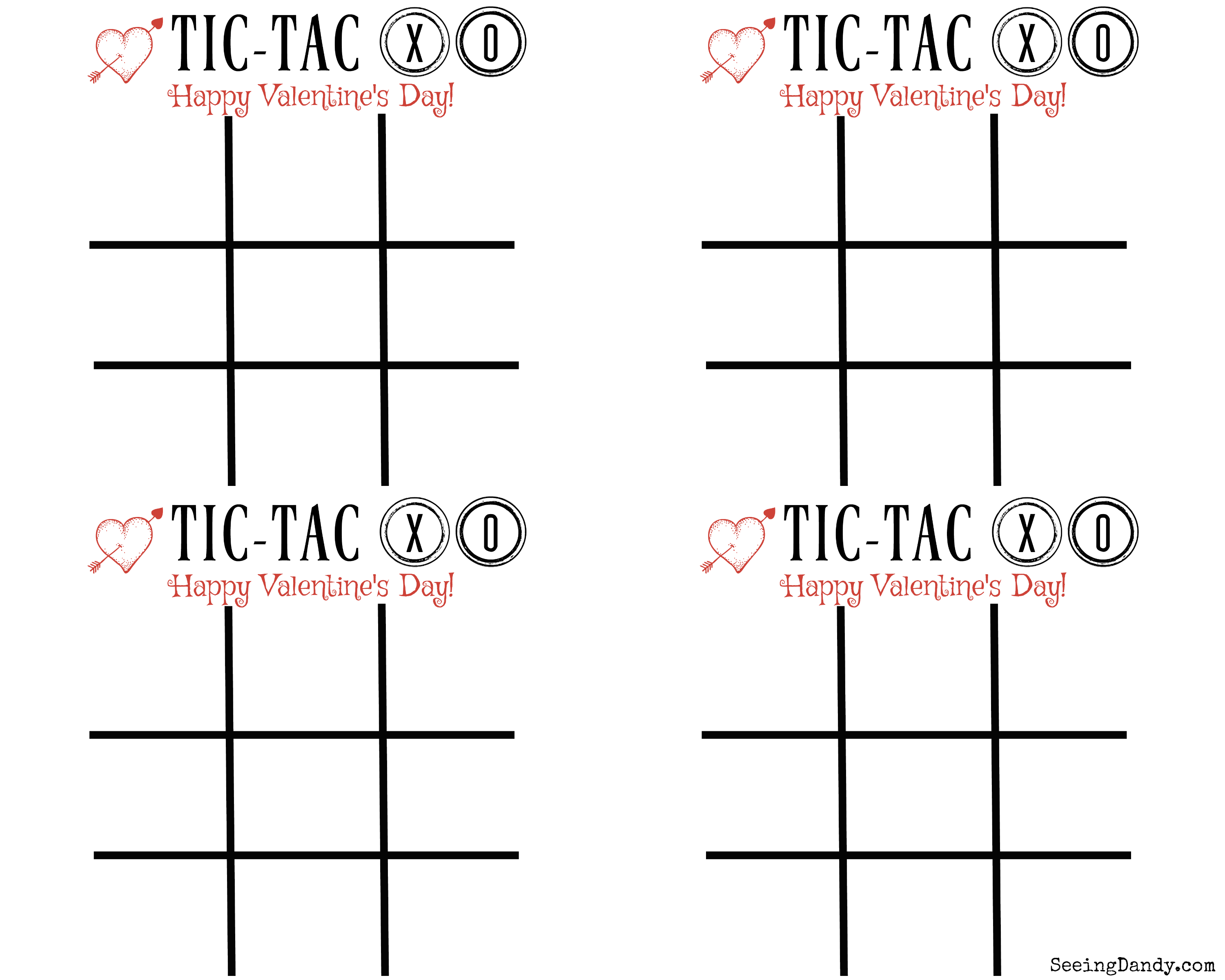 Free printable tic tac xo cards pdf download to play the fun game on Valentine's Day.