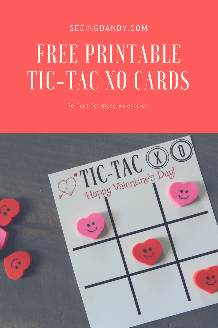 Free printable tic tac xo or tic tac toe themed card for Valentine's Day with cute heart erasers.