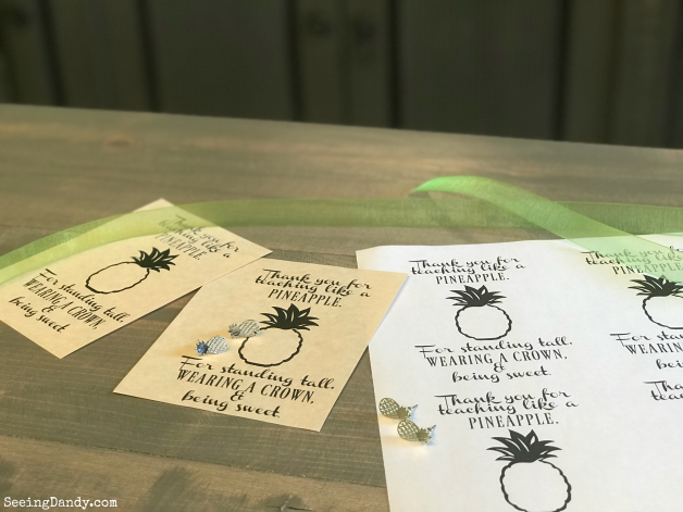 DIY kids craft teacher gift idea. Pineapple quote with pineapple earrings on a farmhouse table.