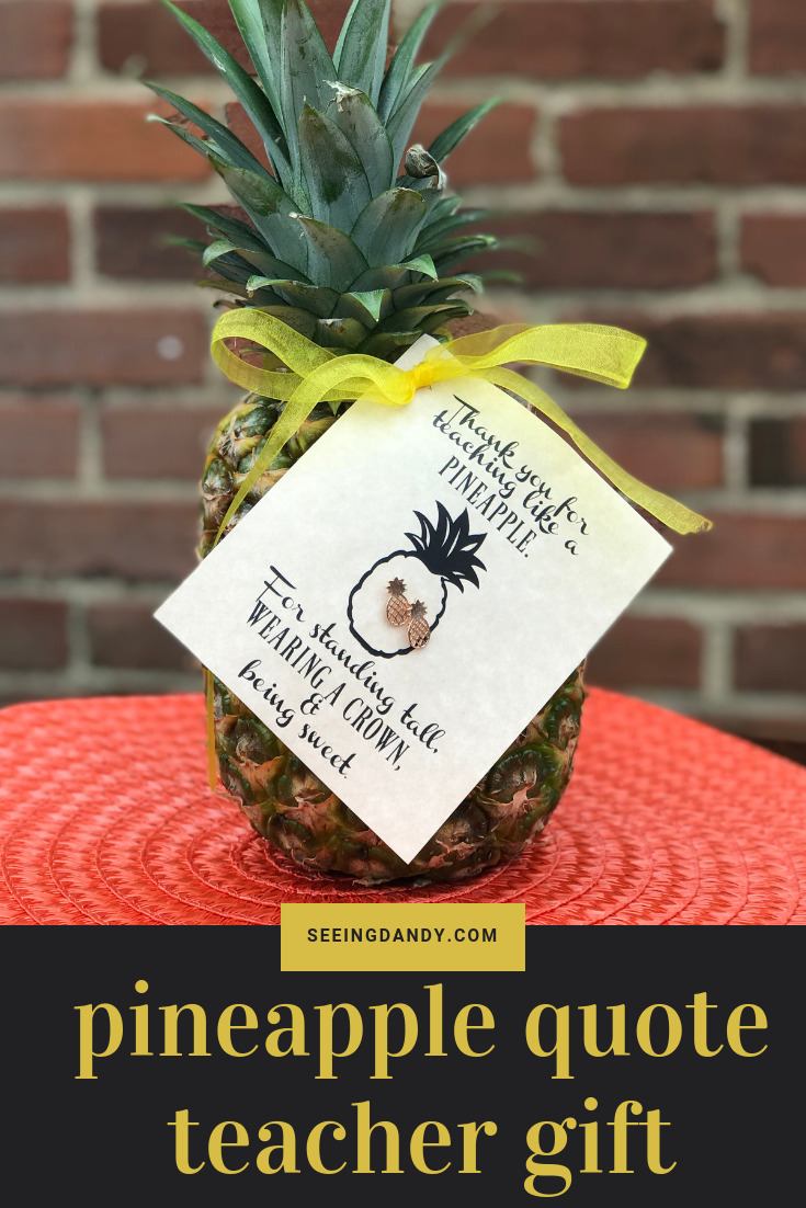 Easy to make and cute teacher gift idea. Pineapple in front of brick wall.